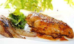 receta Pechuga de poollo agridulce con hinojo